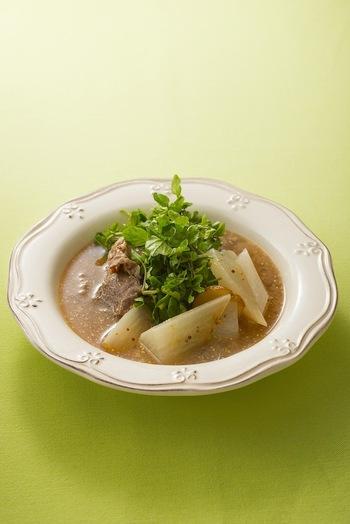 牛肉と大根をポトフ風にした一品。マスタードの風味が効いて味わい深いスープに仕上げることができます。牛肉や野菜がたっぷり入っているので、お腹も満足な一杯です