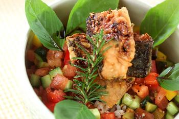 ローズマリーやタイム、バジルなどのハーブを使ってイタリアン風の味付けになったサバを使ったアレンジ丼。角切りにしたキュウリやパプリカなどをソースに使って彩りのいい見た目になっています。サバをこんがりと焼いておくのがポイント。
