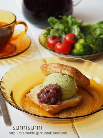 こちらはデニッシュを使ったアイスサンドです。挟むのは、抹茶アイス・粒あん・きなこの3種類。和と洋が絶妙にミックスされた味に仕上がります。