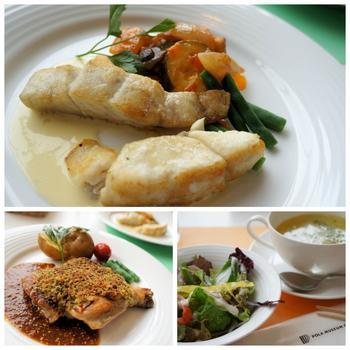 「名画の一皿」や「アレイコース」といったコース料理、カレーやパスタ、米粉等の単品料理、スウィーツ各種の他、ドリンクやスープ、サラダ付きのセットメニューも用意されています。ランチなら、メイン料理が3種から選べる「ランチセット」がオススメ。地元産の食材や新鮮野菜を用いた料理は、美味しいと評判です。  【画像は、3種類から選べるメインにスープ、サラダ、パンまたはライスとドリンクが付いた「ランチセット」。画像の上と左が「本日の魚料理」と「本日の肉料理」のメイン2種。】