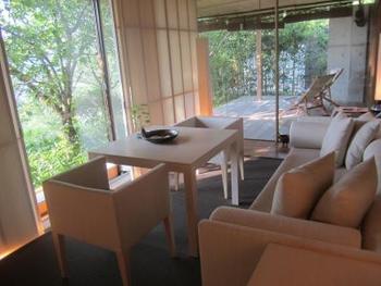 部屋は全室離れのヴィラ形式。大きなガラス窓と地元名産の和紙をふんだんに取り入れたインテリアは、日の光が柔らかく入る優しい空間演出です。