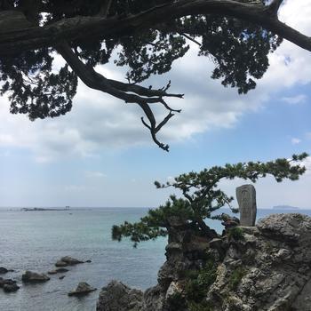 神社の裏手には森戸海岸が広がっています。沖合に浮かぶのは名島。