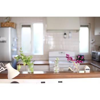 カウンターキッチンも光を取り込めるので人気ですよね。そんなわずかなスペースにも植物を置けば家事の最中にもほっとできる癒しの存在になるかも?水周りが近いので花瓶の水替えやお手入れもしやすいですね。