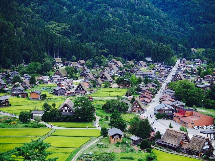 集落が見渡せる最高の撮影ポイントとして人気の「荻町城跡展望台」。前述した和田家から歩道を登って行くコースの他、国道360号沿いの自動車道から入るコースがあります。