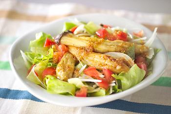 たっぷりの野菜と焼きなすを合わせた、ちょっと珍しい組み合わせの和風サラダ。ショウガ入りのドレッシングをかけて、さっぱりとした味わいを楽しめます。