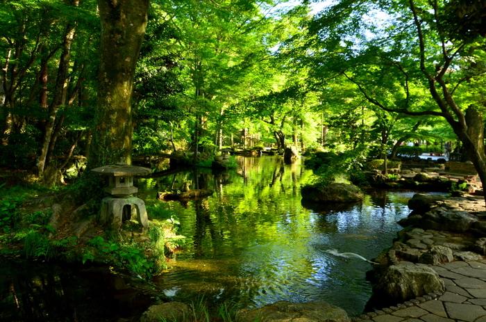 JR岐阜駅、名鉄岐阜駅からバスで約15分 の距離にある「岐阜公園」。岐阜市の中央にある人気観光スポット、金華山のふもとに広がる水と緑が美しい公園には、信長庭園や信長居館跡、岐阜市歴史博物館など見どころがいっぱい。噴水や池もあり、暑い時期でも歩いているだけで癒されそう。