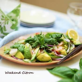 存在感のある香りが病み付きになる「パクチー」は、タイ料理によく登場する香草(ハーブ)。ナンプラーをかけてエスニック風のサラダに。