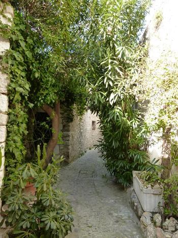 中世に作られた城壁が村を取り囲み、夏の暑い日であっても石畳の道と石造りの家、生い茂った緑のおかげで路地はひんやりと涼しいようです。日本の夏と違ってからっとしたヨーロッパの気候だからこその過ごしやすさを味わって。