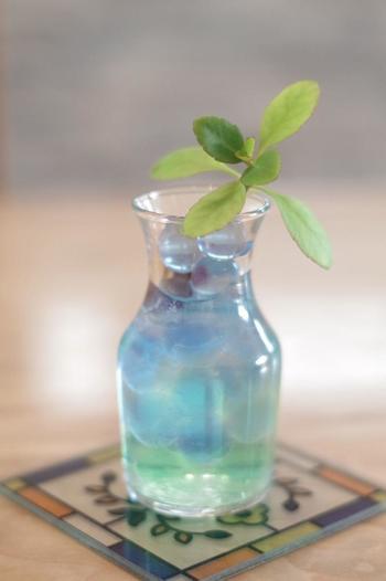 マザーリーフを器に飾ったり、浮かべらりするなら、透明感溢れるガラスの器がお似合いです。