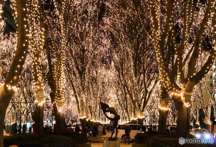 12月の定禅寺通りをおよそ60万の光が照らす、光のページェント。イルミネーション点灯式や子供達の演奏、屋外アイススケートリンクなど多くのイベントも行われ、仙台市民の心を温めます。