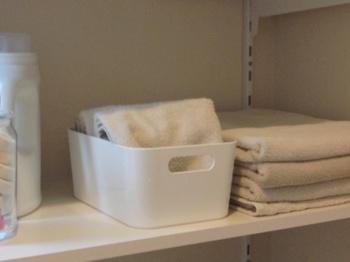 IKEAの収納ボックスも人気です。フェイスタオルや洗濯ネットなどをおしゃれに収納できます。
