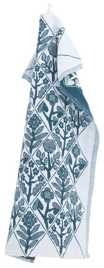 ウオッシュドリネンとコットンの混合素材で肌触りがよく、速乾性や吸水性といった機能面も優れています。まるで手描きのような繊細なタッチを感じるデザインも素敵。色は深みのあるブルーグリーンのペトロリウムとモノトーンがシックな印象のブラックの2色展開です。  【KUKAT towel】48×70㎝ 2,808円(税込)