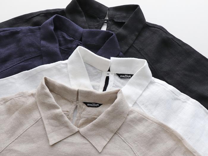 小さめの襟が付いたスモックシャツ。きちんと感に大人の可愛らしさもプラスされた一枚は、色々なシーンに馴染みます。