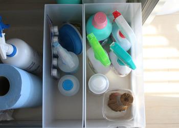 洗剤などのお掃除グッズを入れるのにぴったりのサイズ感。汚れても水洗いできるので、いつも清潔な状態を保てます。