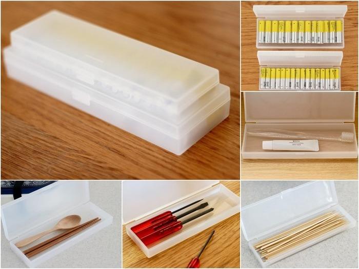 他にも用途は色々!工具を入れたり、カトラリーや竹串などを小分けにしたり、歯ブラシケースにもなっちゃいます。大きさは大小2種類。