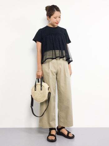 フレアなシルエットのTシャツなら、また違った表情に。 チュールのシースルーとフレアが女性らしいTシャツは、程よいカジュアル感があるので、スポーツサンダルとも相性◎ バッグなど小物で軽やかさを出すのがポイントです。
