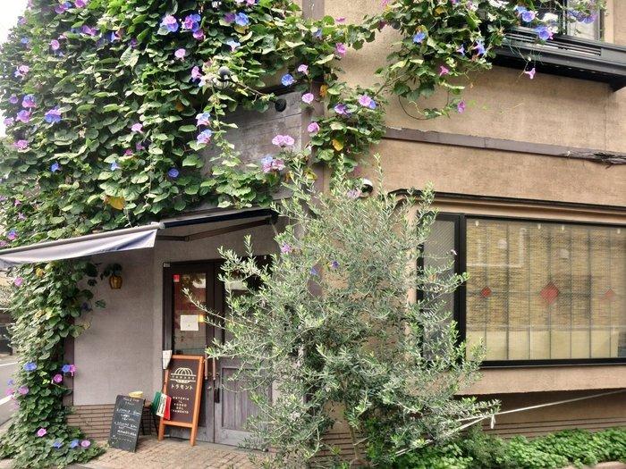 諏訪台通りにある一軒家のオステリア「谷中のトラモント」。外観は写真のように緑と花に覆われていて雰囲気抜群。