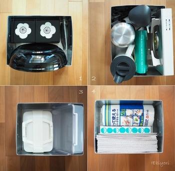 カセットコンロや、水筒、ピクニック用の大きなランチボックス、キッチン用品のストックなど、たくさん入ります。滑りにくいゴム付きの取っ手なのので、持ち運びもしやすいのもポイントです。