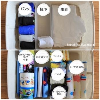 こんな風に大きなボックスや引き出し内の間仕切りとしても使うことができます。小さなお子さんのお支度セットや、靴下や下着の整理にも一役買ってくれます。