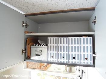 コンパクトさいずなので、キッチンの吊戸棚の中にもすっきりと収納できます。お隣の無印良品の半透明のファイルボックスにもモノトーン柄で目隠しを付けて、シンプルな隠す収納を実現しています。
