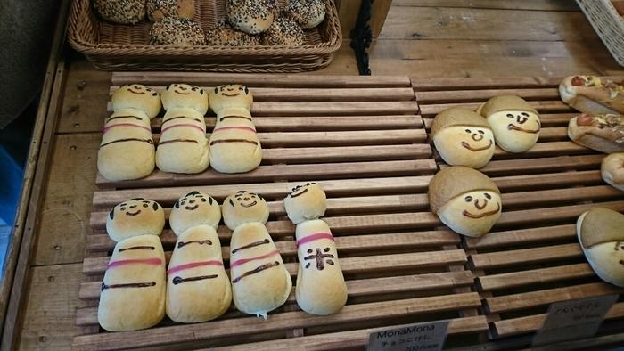 いつ訪れてもかわいらしいパンがお客さんを出迎えてくれます。しっとりむっちりの米粉パンは、満足感たっぷり。