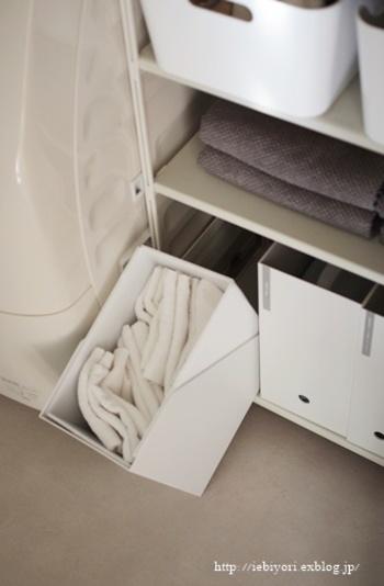 こちらは「スタンドファイルボックス」に、プラダンで囲いを作って収納容量を増やした簡単DIYアイデア!お掃除で使うウエスをたっぷり収納できます。