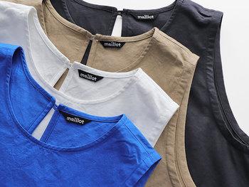 一枚ではもちろん、ゆとりのあるシルエットでTシャツなどとのレイヤードも楽しめます。カラーは鮮やかな「ロイヤル」、馴染みやすい「ホワイト」「ベージュ」「インクブラック」の4色をご用意。