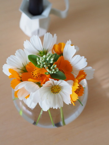 お庭やベランダにお花が咲いているときは、すこしだけ摘んでちいさな花器に生けてみるのもいいですね。短めにカットすればすくない量でもぎゅっとお花が集まって豪華に見えますよ。
