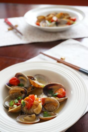 高たんぱく低脂肪なたらとあさりを使ったスープまで美味しいアクアパッツァ。最後にスープを使ったリゾットもおすすめです。