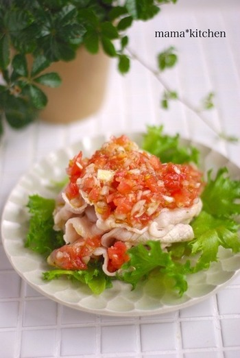 冷しゃぶにたっぷりのサルサソースをかければ、フレッシュなサラダ感覚の一品に。栄養バランスもよく、さっぱり食べやすいので、食欲の落ちる季節にもぴったり。
