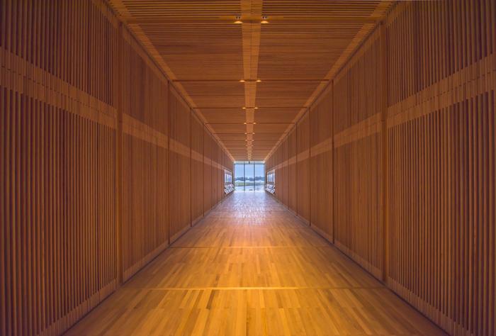 アルミとガラスを用いたモダンで美しい外観や、環水公園と立山連峰を大パノラマで楽しめる建築デザインも、富山県美術館ならではの魅力です。美術館の設計は「海の博物館(三重県)」や「牧野富太郎記念館(高知県)」など、国内の様々な公共建築でも知られる建築家・内藤廣氏が手掛けました。館内の中央廊下の天井や壁には、県産材である「ひみ里山杉」を使用しています。