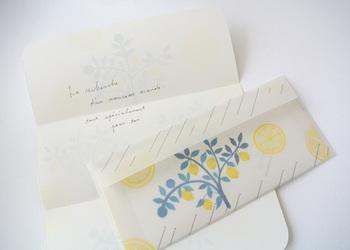 みずみずしく爽やかなレモンの木のイラストが描かれたレターセットは、見ているだけで、元気を貰えそう!