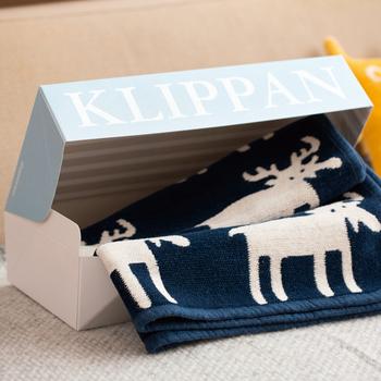 キッズやベビー向けのプレゼントには、異なるデザインのギフトボックスが使われます。優しい水色が上品でかわいらしい。