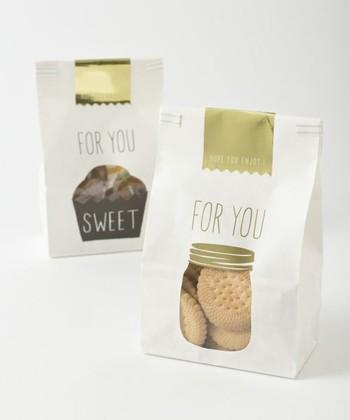 まるでお店のお菓子のような…戴きもののような…そんな特別な感覚にさせてくれるペーパーバッグ。中身が見えるデザインもオシャレで可愛いですよね♪たくさん入るのでお子さんとシェアするにもいいですし、もちろんご自分で作ったお菓子を入れても◎