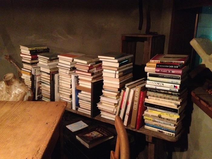 店内の至る所に積み上げられた本は、全て売り物です。無造作に並べられた古本は、思わず手に取りたくなるようなものばかり。