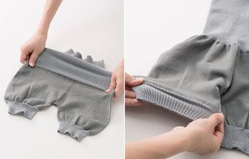 形だって色々あるんですよ。こういったお尻を包み込むように温めてくれるキュートなかぼちゃパンツ型も☆ 最近の腹巻きは昔に比べてデザインがおしゃれに進化しているんです。