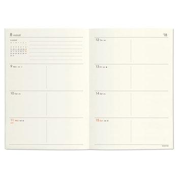マンスリータイプでは1日の予定が書き込みきれない、それにメモも残したいという方は、こんな週間タイプはいかがでしょうか。 手帳のサイズや形によって様々ですが、1ページの左半分に週間予定表+右ページにメモ帳というように、左右が使い勝手よく仕切られたものなど、いくつかのタイプがあります。