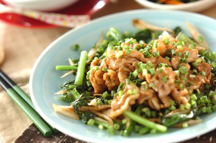 小松菜と豚肉を別々に炒めて作るレシピです。まずゴボウと小松菜を炒めたらお皿に盛り付けましょう。次に下味を付けた豚肉を炒めて、マヨネーズと醤油で味付けします。小松菜の上に豚肉をのせたら、最後に刻みネギを散らして出来上がり♪手が込んでいる本格派レシピです。
