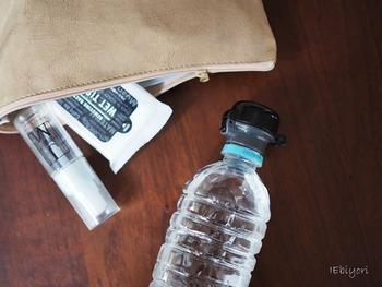 ウェットティッシュや携帯サイズの消毒アルコールも常に携帯して置きたい物です。もし非常時に家から出る場合、身軽に動く必要があるなら500mlのお茶かミネラルウォーターだけでも持ち出せれば、避難直後から物資の配給までをある程度つなぐ事ができます。
