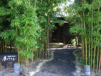 竹林に囲まれ、母屋を中心に離れ(宿泊棟)が点在しています。
