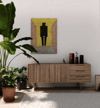 背の低いチェストなら、壁の大きな絵も生き生きと映えますね。棚の上も厳選された雑貨だけを飾れば、スッキリと整った印象に。