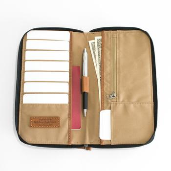 見開きで使うから、安定感がありそう。ファスナー付きのポケットもあるから、小銭なども収納できます。旅の貴重品をしっかりまとめて管理できそう。