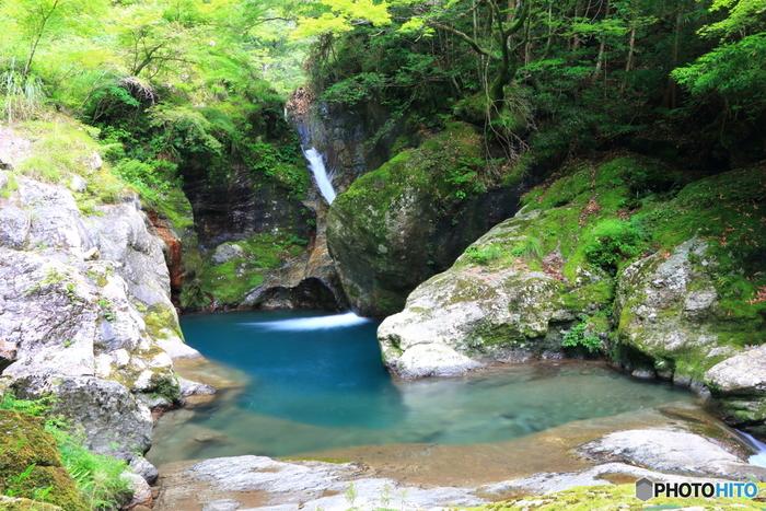 雨竜の滝を登って行くと見えてくる【龍宮淵】。木々の緑と水辺の青とのコントラストが美しいですね。