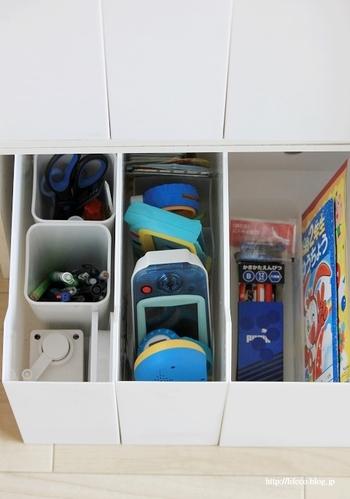 仕切りやミニボックスと組み合わせれば、小物収納やおもちゃ類の整理にも最適です。 ひと目で中身が見渡せるので片付けも楽に。