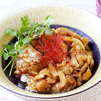 お肉の丼ものには、糸唐辛子とパクチーを添えて。お皿は白系の明るめトーンを選ぶことで、ほどよい爽やかさが生まれます。