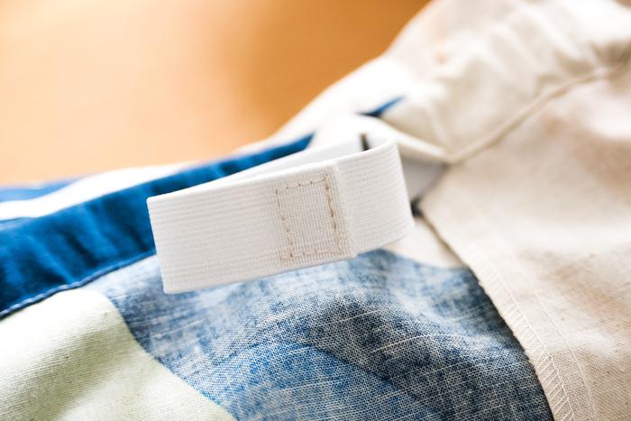 ゴムの端を1.5㎝重ねて、四角に縫いとめます。