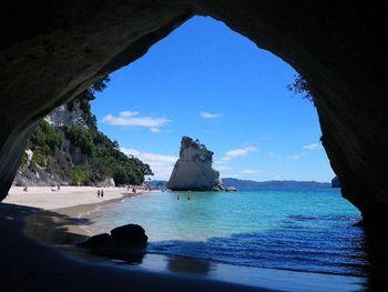 コロマンデル半島東海岸には『ナルニア国物語』のロケ地となった「カセドラル・コーブ」があります。波の浸食によってできた、大きな奇岩(写真奥)や洞窟など、まさしく自然の神秘に満ちた入り江です。ビーチには桜貝が多く、うっすらピンクに見えますよ。