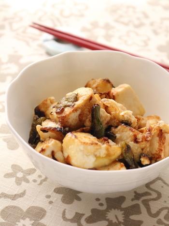 片栗粉をまぶした木綿豆腐を炒めて、ボリューム満点のひと品に。オリーブオイルとポン酢の爽やかな味付けで、今までに食べたことのない美味しさを体感できますよ。