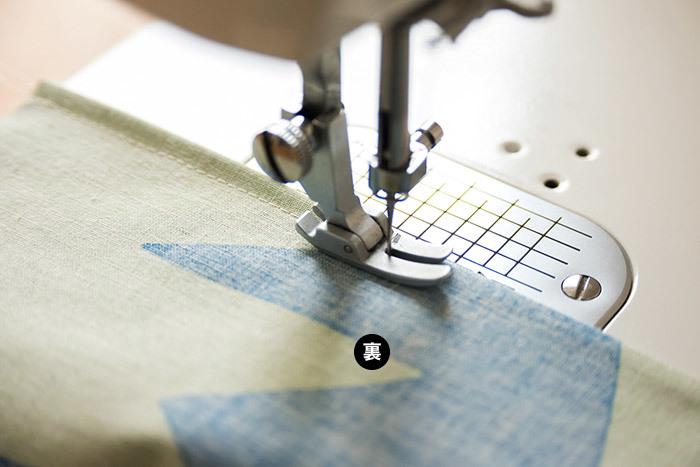 出来上がり線を縫って、袋縫いは完成です。