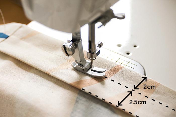 上端から2㎝を1周縫い、そこから2.5㎝を縫います。